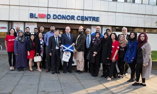 Lord Provost of Edinburgh gives blood and thanks The Scottish Ahlul Bayt Society and Blood Donors