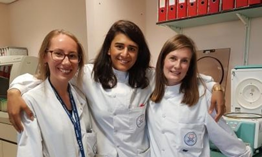 Namdip Kaur (centre) with colleagues Laura Kinnon (left) and Holly Brogan (right) at Gartnavel Hospital, Glasgow