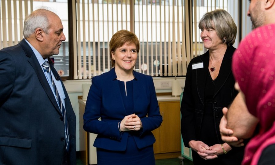 First minister Nicola Sturgeon meets SNBTS Director, Mary Morgan, SABS Chairman Shabir Beg, and representatives from the Imam Hussain Blood Donation Campaign