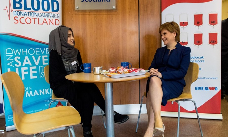 SABS member Zeinab Hussnain and the First Minister have a post donation cuppa
