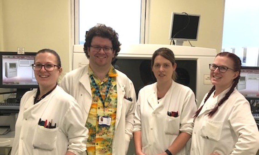 Robyn Thomson, Graeme Trinder, Erin Stuart and Christy Thomson at Foresterhill Hospital, Aberdeen