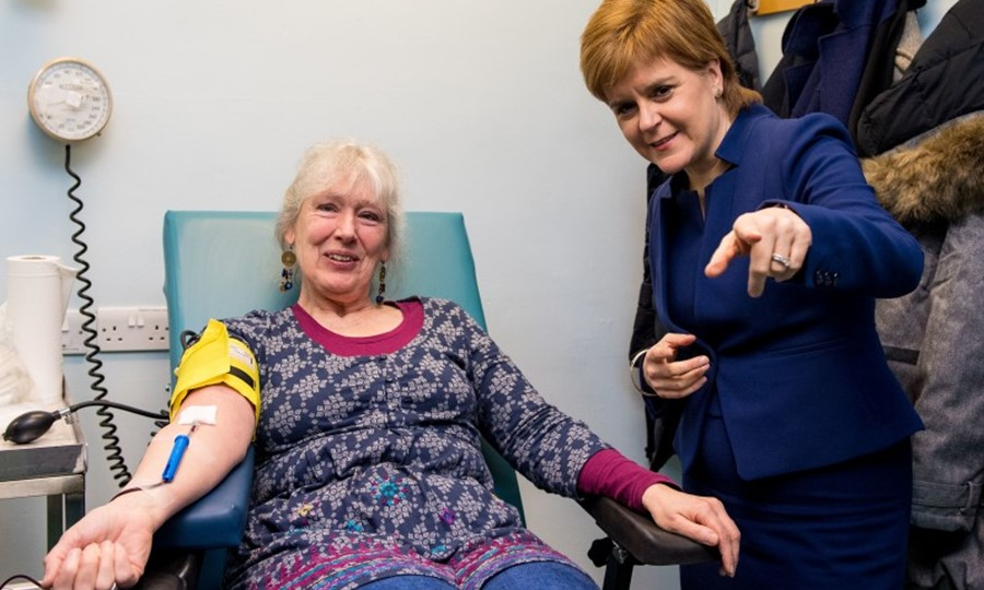 An unexpected visitor for other donors at Edinburgh Blood Donor Centre