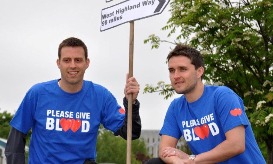 Grant and pal walk the West Highland Way to raise awareness of blood donation.