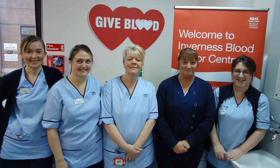 From left to right, Fiona Fraser, Kirsten Mackenzie, Carol Rollo, Senior Charge Nurse Gillian Docherty, and Katie Kynoch