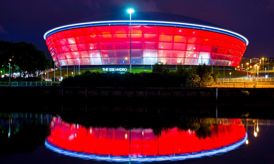 The SSE Hydro lit red for World Blood Donor night 2016