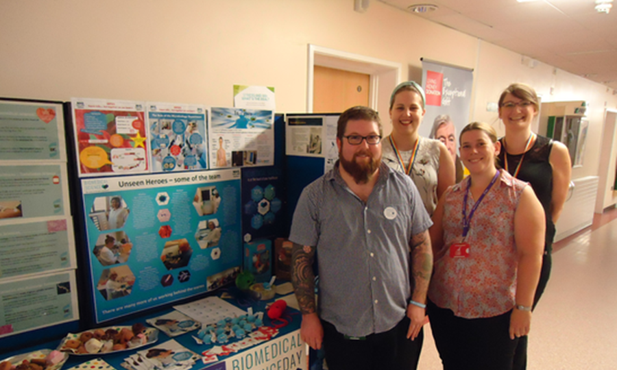 Wendy Callan (pictured back left) and colleagues with their promotional stand at Raigmore Hospital, Inverness