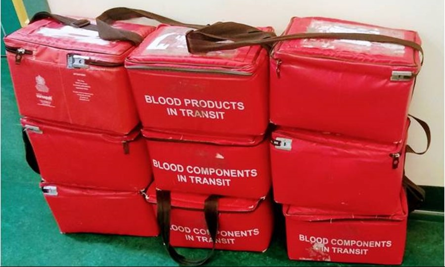 Each transportation bag can contain up to five units of blood. After the contents are used, the bags are placed outside recovery for collection.