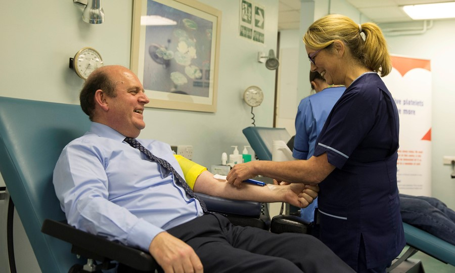 Frank Ross, Lord Provost of Edinburgh gives blood on Wednesday.