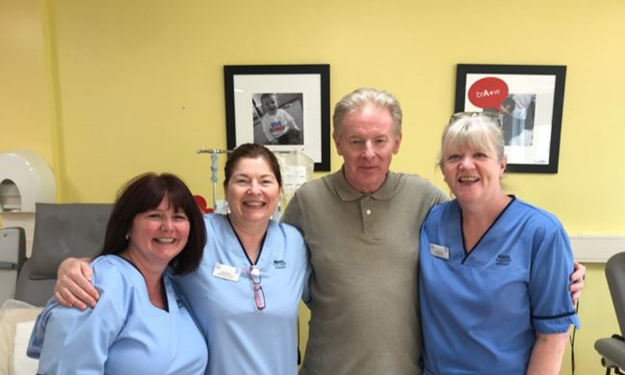 Douglas with members of staff from Aberdeen Blood Donor Centre.